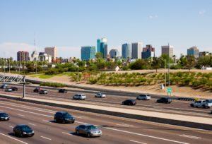 Cars on a freeway