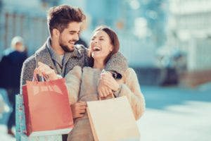 couple having fun shopping