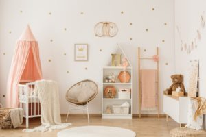nursery room with pink theme